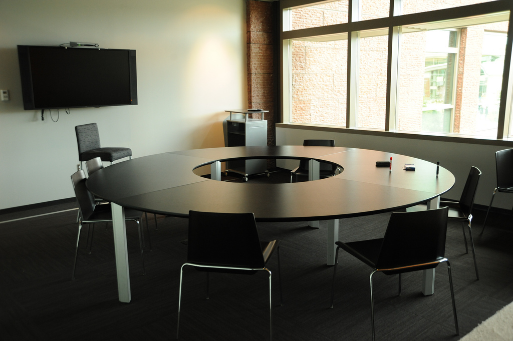 Round Table, chairs, TV monitor, conference room, 2nd floor, Studio C, Microsoft, Redmond, Washington, USA